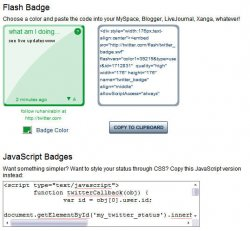 twitter flash and javascript badge